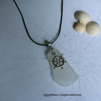 Sea glass necklace. Beach glass necklace. Ships wheel seaglass jewelry.