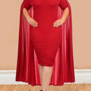 Red Off Shoulder Backless Plus Size Bodycon Cocktail Party Midi Dress With Cape