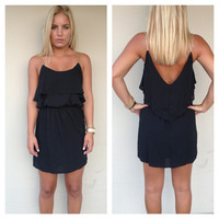 Black V-Back Gold Strap Dress