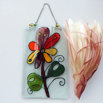 Fused glass pocket vase,painted pocket vase,wall hanging vase,reed diffuser
