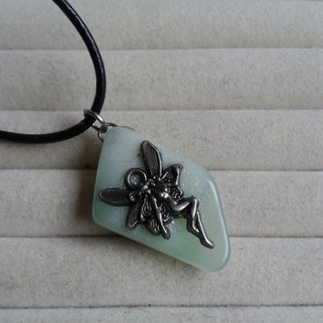 Closing sale - Fairy green nature stone pendant  necklace