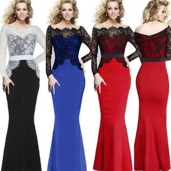 CREYUG3 Women Elegant Lace Patchwork Evening Party Long Mermaid Maxi Dress = 1931800644