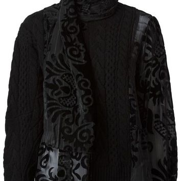DCCKIN3 Sacai cable knit sheer panelled sweater