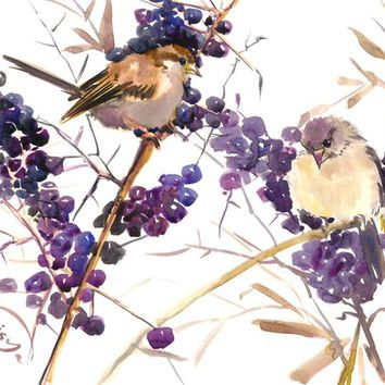 Sparrows, Original one of a kind, bird artwork, Purple, Brown  birds and flowers vintage style wall artwork