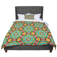 "Miranda Mol ""Hexagon Tiles"" Orange Teal Pattern Comforter"