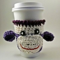 Coffee Cozy - Sock Monkey - Purple on Luulla
