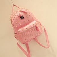 Pink River Casual Leather Backpack Schoolbag Travel Bag + Free Gift -Random Necklace