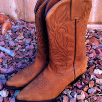 Size 8 Cinnamon Brown Leather OAK TREE Cowboy Boots