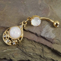 Glitter Opal Gold Belly Button Ring