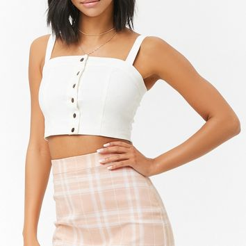 Stretch-Denim Plaid Mini Skirt