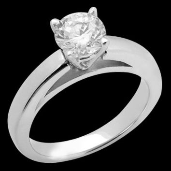 Cathedral setting 1.01 carat diamond solitaire ring solid white gold 14K