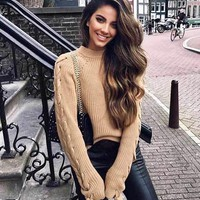 Braided Bow Sleeve Sweater