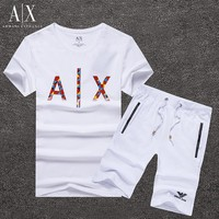 Boys & Men Armani Exchange Shirt Top Tee Shorts Set Two-Piece