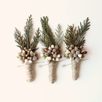 woodland boutonniere, winter weddings, groomsmen wedding boutonniere, natural keepsake, rustic boho boutonniere - PINE
