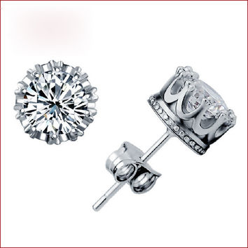 Luxury 925 sterling silver women men crown logo clay CZ crystal stud earrings pe