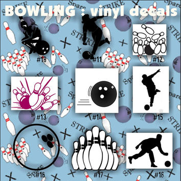BOWLING vinyl decals - 10-18 - car window stickers - team sports decals - vinyl sticker - custom vinyl decal