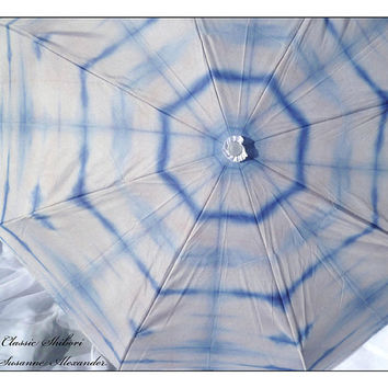 Umbrella STOCKED Indigo White Shibori Fashion Photo Fiber Art  for Wedding Rain Travel
