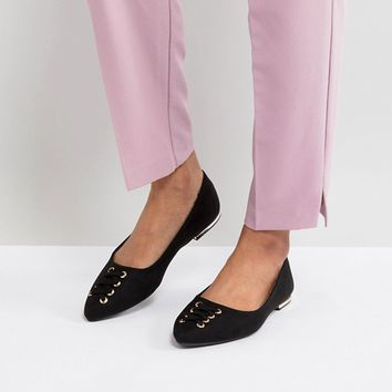 New Look Lace Up Front Detail Almond Toe Flat Shoe at asos.com