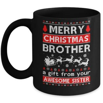 IKCKIJ3 Merry Christmas Brother A Gift From Your Sister Sweater Mug