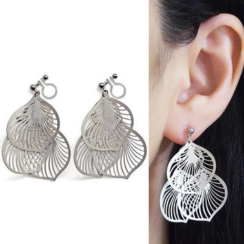 Dangle Silver Filigree Invisible Clip on Earrings Leaf Lace Clip Earrings Non Pierced Earrings Leave Clip-ons Boho Earrings Gift for Her