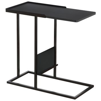 Accent Table - Black / Black Metal With A Magazine Rack