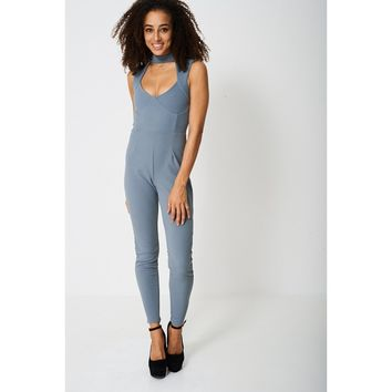 Grey Choker Neck Jumpsuit Ex-Branded - Tall