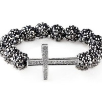 New Arrival Fashion Loose Bead Honesty Sideways Crystal Cross Bracelet | AihaZone Store