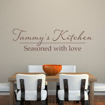 Kitchen Wall Decal - Personalized Name Decal - Seasoned with love - Extra Large