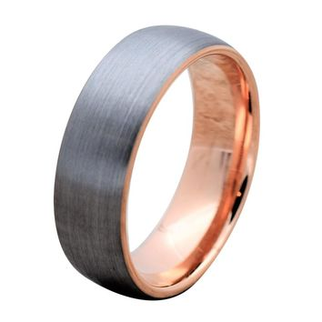 ATILA Domed Tungsten Carbide Ring with Brushed Finish & Rose Gold Inlaid Inside 8mm