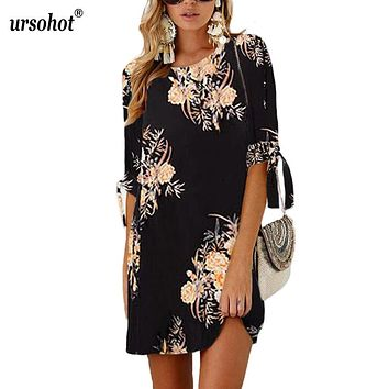 Ursohot Bow Tie 3/4 Sleeve Summer Dress Women Casual Style Floral Print Loose Mini Tunic 2018 Beach Vestidos Plus Size 5XL