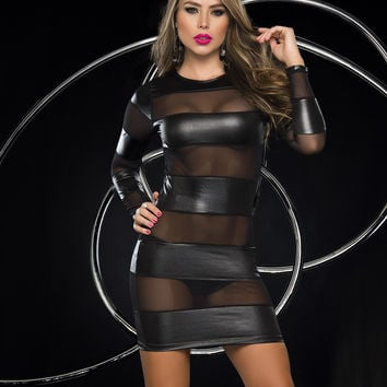 Sexy See-Through Mini Dress-Clubwear Dresses