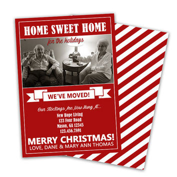We've Moved Holiday Cards - We Have Moved Christmas Card -  We Moved Announcements - Photo New Address Announcement Set - Striped