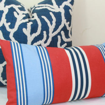 Nautical stripe decorative throw pillow cover.  12 x 24.  14 x 26.  16 x 26. lumbar pillow.
