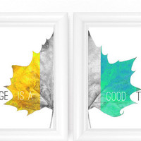 Modern Art Prints for Living Room Dining or Office - Changing Leaf Home Wall Decor - Yellow Gray & Aqua Greens - SET of 8x10 Digital Prints