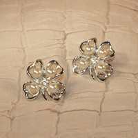 Vintage 4 Leaf Clover Scatter Pins Pair Brooch Fourleaf Four Leaf Silver Pearl Crystal 4-H