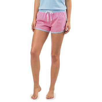 Women's Gingham Lounge Short in Bloom Pink by Southern Tide