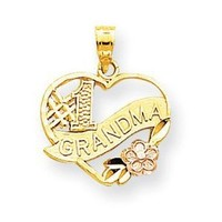 10k Two-Tone Number 1 Grandma Heart Charm - JewelryWeb