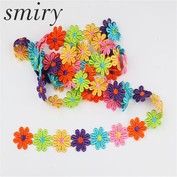 smiry Beautiful 2 yards Embroidered Colorful Lace Trim Lace Small daisy Fabric Trim DIY Home Decoration Lace Sewing Crafts