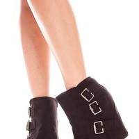 BLACK 5 INCH FAUX SUEDE BUCKLE ACCENT SIDE ZIPPER BOOTIE WEDGES