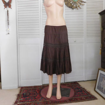 Brown Skirt long Midi Gypsy Skirt Brown Lace Elastic Waist Tiered Layered Hippie Clothes Vintage Bohemian Broomstick Size Medium