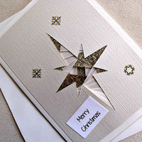handmade iris fold Christmas card – Merry Christmas star