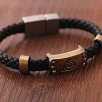 Naruto Konoha Logo Leather Magnetic Buckle Bracelet