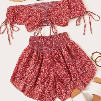 Ditsy Floral Crop Top & Shirred Waist Shorts