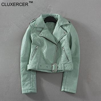 CLUXERCER Brand Green Leather Jacket Women Coat Motorcycle Slim Casual Coat green locomotive leather jacket coat
