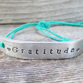 GRATITUDE Friendship Bracelet ONE Custom Hand Stamped Name Tie On Hemp Cord Personalized