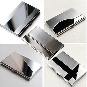 Fine Stainless Steel Pocket Name Credit ID Business Card Holder Box Metal CaseHU