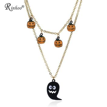 RINHOO 2018 Hallowmas Lip Pumpkin Ghost Crystal Gothic Punk Retro Pendant Necklace Women 's Jewelry Vintage Halloween Costume