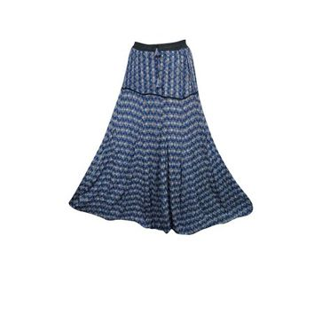 Mogul Women's Long Skirt A-Line Blue Printed Ethnic Indian Crinkled Summer Skirts - Walmart.com
