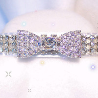 Bow Tie & White Velvet  Crystal RHINESTONE Dog Cat COLLAR