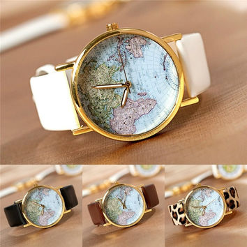 Vintage Retro World Map Watch Alloy Unisex Analog Quartz Wrist Watches Students Gift = 1932624068